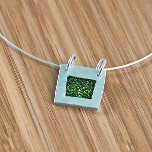 square glitter necklace
